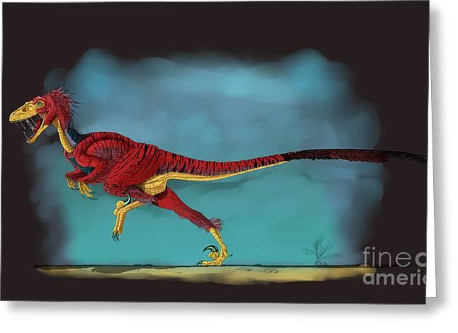 Deinonychus Greeting Cards - Deinonychus, A Genus Of Carnivorous Greeting Card by Stocktrek Images