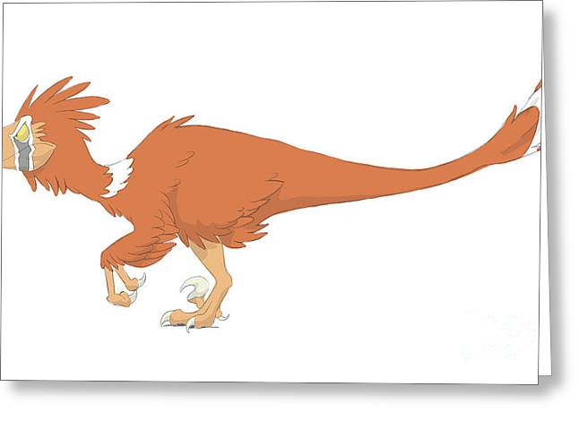 Paleontology Greeting Cards - Deinonychus Pencil Drawing With Digital Greeting Card by Alice Turner