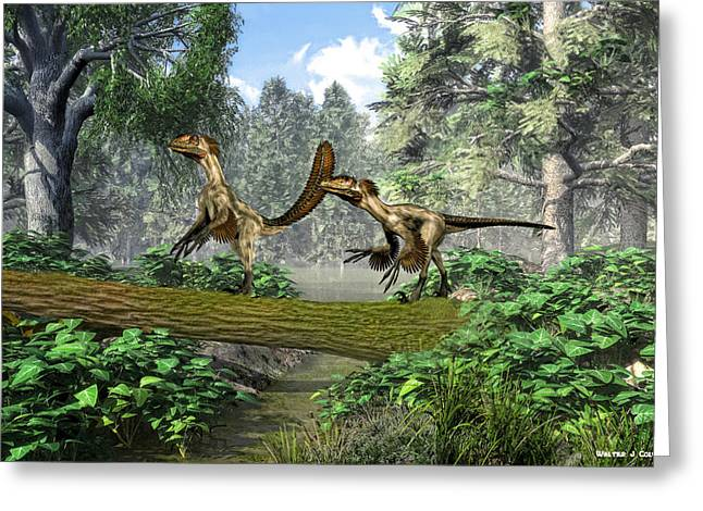 Deinonychus Greeting Cards - Deinonychus terrible claw Greeting Card by Walter Colvin