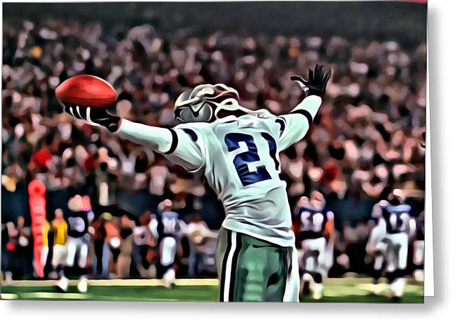 Cowboys Greeting Cards - Deion Sanders Greeting Card by Florian Rodarte