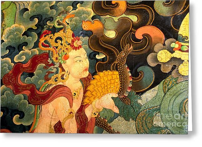 Tibetan Buddhism Greeting Cards - Deity with Nagas - Sera Monastery Lhasa Greeting Card by Craig Lovell