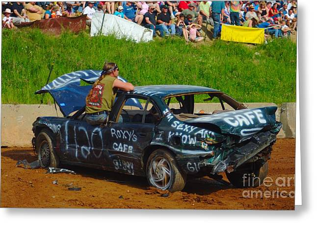 Demolition Derby Greeting Cards - Dejected Derby Driver Greeting Card by Ray Konopaske