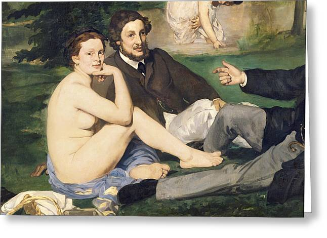 Picnic Greeting Cards - Dejeuner Sur Lherbe, 1863 Oil On Canvas See Also 65761 Detail Of 2310 Greeting Card by Edouard Manet