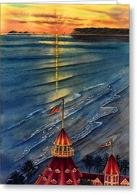 Beach At Night Greeting Cards - Del Before Sunset Greeting Card by John YATO