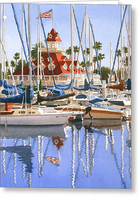 Boathouse Greeting Cards - Del Coronado Boathouse Greeting Card by Mary Helmreich