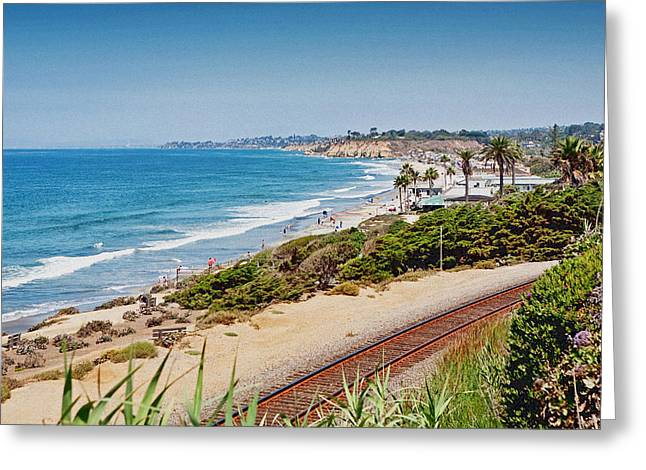Tourists Greeting Cards - Del Mar Beach California Greeting Card by Susan  Schmitz