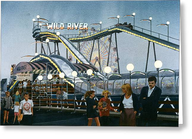 Amusement Park Greeting Cards - Del Mar Fair at Night Greeting Card by Mary Helmreich