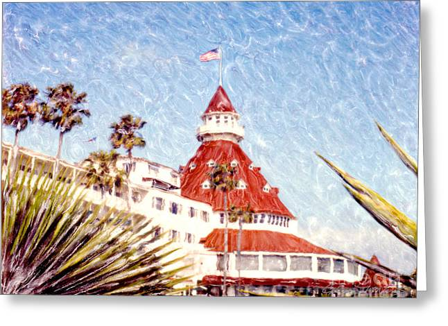 Dream Scape Greeting Cards - Del with Palms - Horz. Greeting Card by Glenn McNary