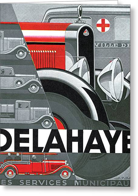 Advertisment Greeting Cards - Delahaye Cars - Vintage Poster Greeting Card by World Art Prints And Designs