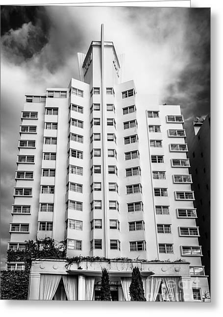 1930s Portraits Greeting Cards - Delano Hotel - South Beach - Miami - Florida - Black and White Greeting Card by Ian Monk