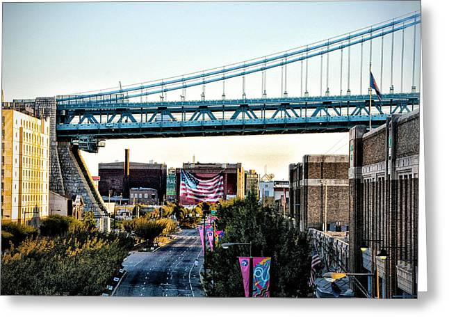 Delaware Avenue And The Ben Franklin Bridge Greeting Card by Bill Cannon
