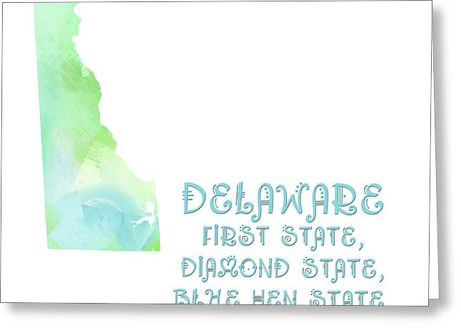 State Phrase Greeting Cards - Delaware - First State - Diamond State - Blue Hen State - Small Wonder - Map - State Phrase Greeting Card by Andee Design