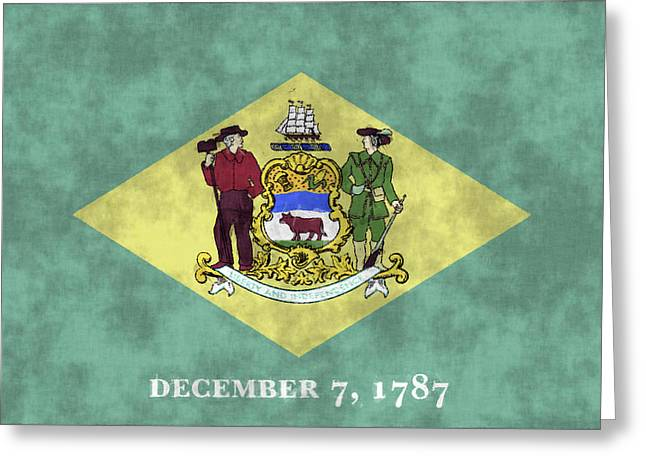 U.s. Flag Greeting Cards - Delaware Flag Greeting Card by World Art Prints And Designs