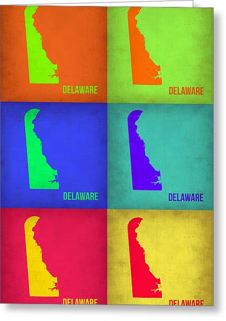 Delaware Pop Art Map 1 Greeting Card by Naxart Studio