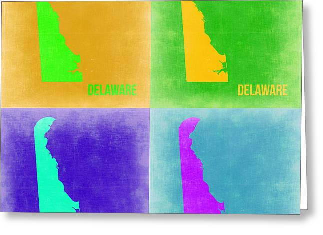 Delaware Pop Art Map 2 Greeting Card by Naxart Studio