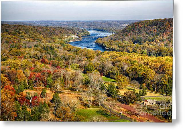 Hunterdon County Greeting Cards - Delaware River Valley Fall Scenic Greeting Card by George Oze