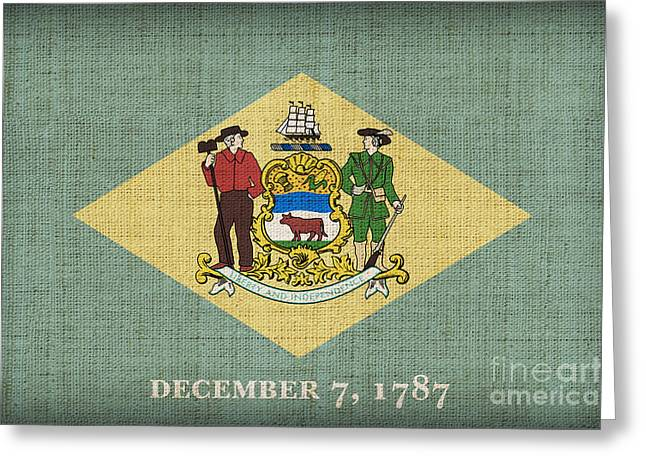 Delaware State Flag Greeting Card by Pixel Chimp