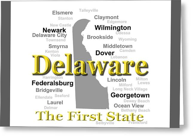 Smyrna Greeting Cards - Delaware State Pride Map Silhouette  Greeting Card by Keith Webber Jr
