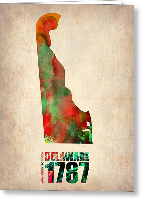 Us State Map Greeting Cards - Delaware Watercolor Map Greeting Card by Naxart Studio