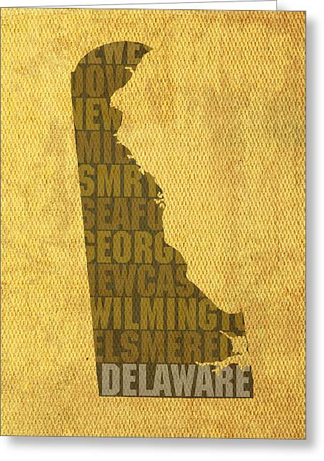 Delawares Greeting Cards - Delaware Word Art State Map on Canvas Greeting Card by Design Turnpike