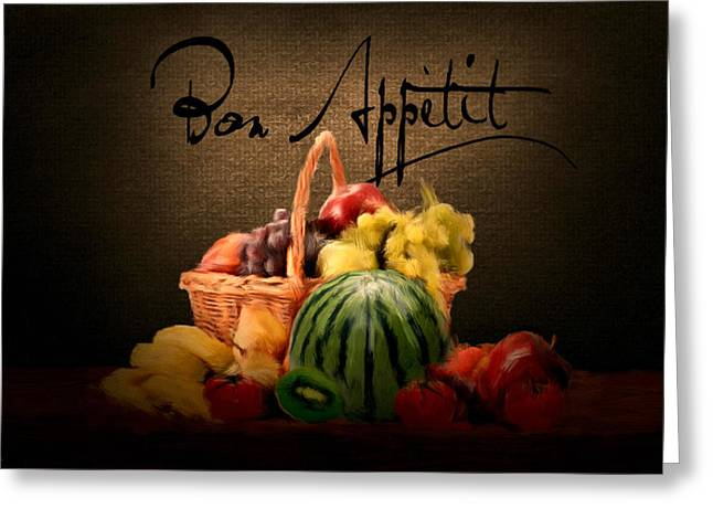 Fruit And Wine Digital Greeting Cards - Delectable Sight Greeting Card by Lourry Legarde
