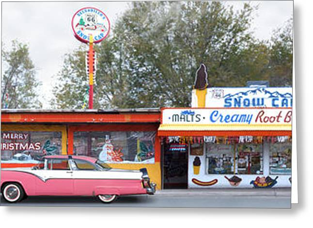 Burger Greeting Cards - DELGADILLOS SNOW CAP DRIVE-IN on Route 66 Panoramic Greeting Card by Mike McGlothlen