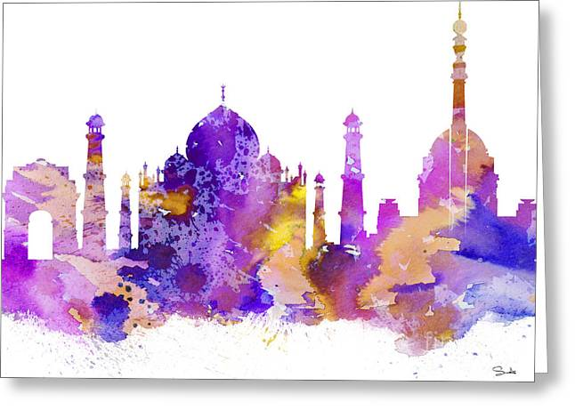 Illustration Posters Greeting Cards - Delhi Greeting Card by Luke and Slavi