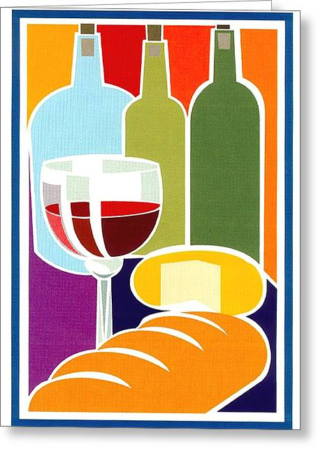 Red Wine Prints Greeting Cards - Deli Moment Greeting Card by Ric Rice