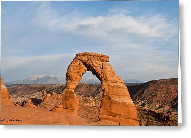 Slickrock Greeting Cards - Delicate Arch at Sunset Greeting Card by Jeff Goulden