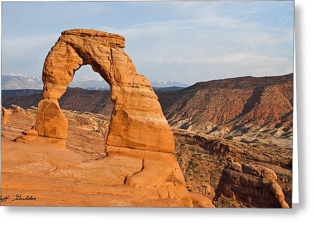 Slickrock Greeting Cards - Delicate Arch Greeting Card by Jeff Goulden