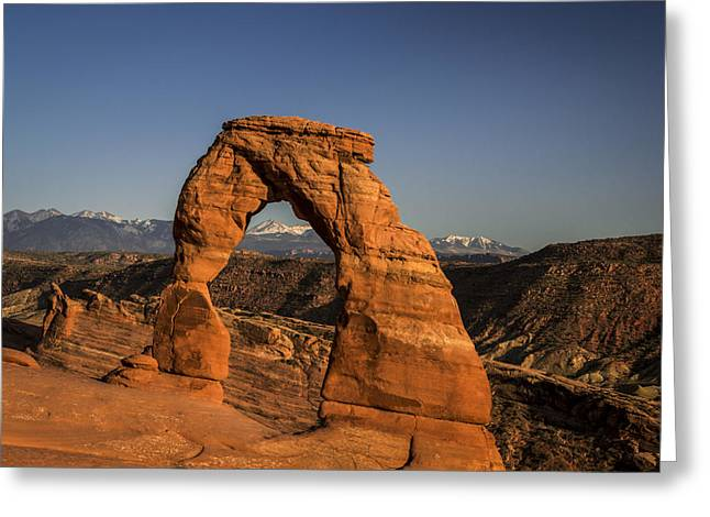 Trail Greeting Cards - Delicate Arch Sunset Greeting Card by Michael J Bauer