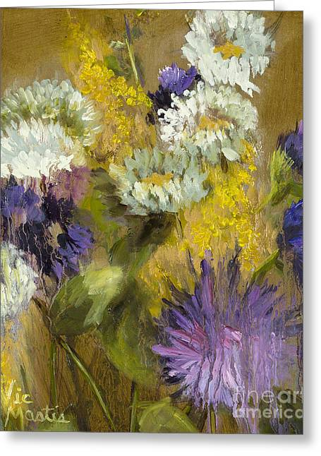 Splashy Paintings Greeting Cards - Delicate Aroma I -Unframed-with Gold Leaf by Vic Mastis Greeting Card by Vic  Mastis
