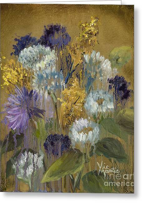Splashy Paintings Greeting Cards - Delicate Aroma II -Unfarmed-with Gold Leaf by Vic Mastis Greeting Card by Vic  Mastis