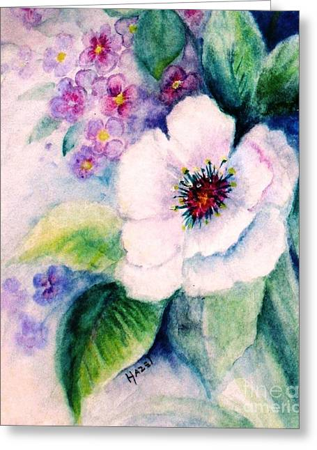 White Paintings Greeting Cards - Delicate Beauty Greeting Card by Hazel Holland