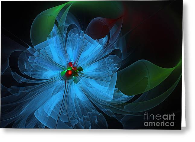Subtile Greeting Cards - Delicate Blue Flower-Fractal Art Greeting Card by Karin Kuhlmann
