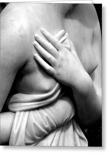 Nude Woman Torso Sculpture Greeting Cards - Delicate Breast And Hand Greeting Card by Jeff Lowe