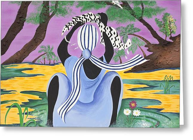 Gullah Art Greeting Cards - Delicate Cycle Greeting Card by Patricia Sabree