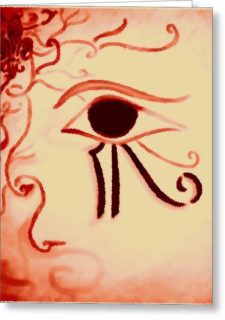 Horus Greeting Cards - Delicate Eye of Horus Greeting Card by Marian Hebert