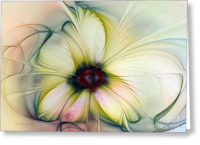 Flowery Greeting Cards - Delicate Flower Dream in Creme Greeting Card by Karin Kuhlmann