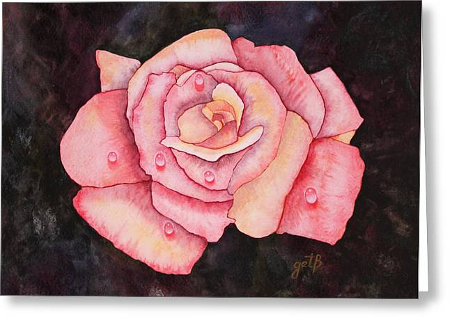 Droplet Paintings Greeting Cards - Delicate Pink Rose with Water Droplets original watercolor painting Greeting Card by Georgeta  Blanaru