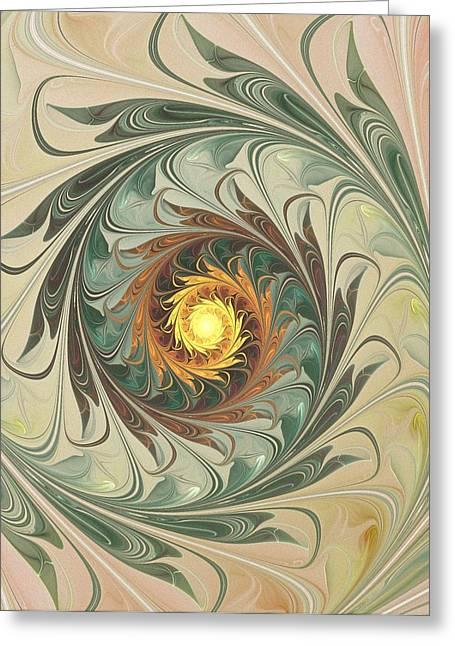 Abstract Digital Mixed Media Greeting Cards - Delicate Spiral Greeting Card by Anastasiya Malakhova
