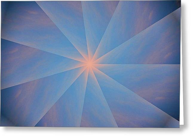 Abstract Digital Greeting Cards - Delicate Sunset Rays Greeting Card by Linda Phelps