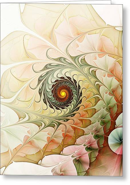 Subtle Colors Mixed Media Greeting Cards - Delicate Wave Greeting Card by Anastasiya Malakhova