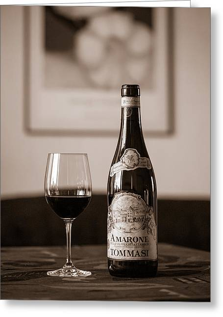 Table Wine Greeting Cards - Delicious Amarone Greeting Card by Ari Salmela