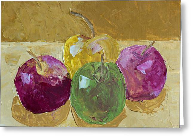 Apple Art Greeting Cards - Delicious Apples Greeting Card by Heidi Smith