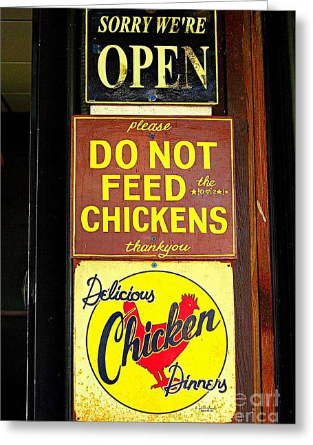 Us Open Photographs Greeting Cards - Delicious Chicken Dinners Sign Greeting Card by Catherine Sherman