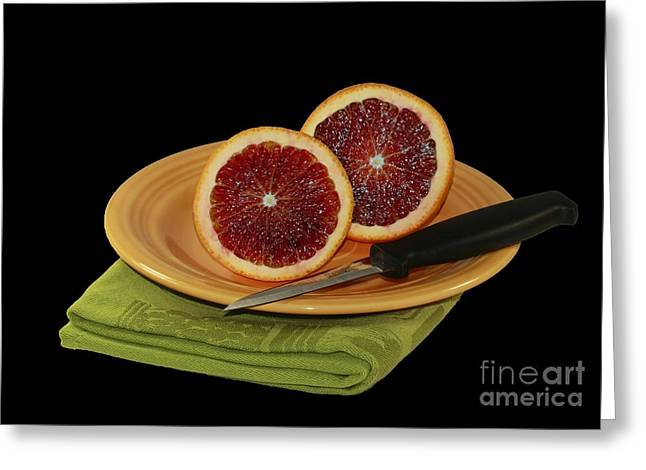 Delicious Juicy Blood Oranges Greeting Card by Inspired Nature Photography Fine Art Photography