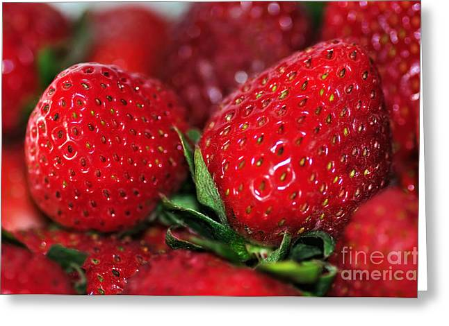 Strawberry Art Greeting Cards - Deliciously Close Greeting Card by Kaye Menner