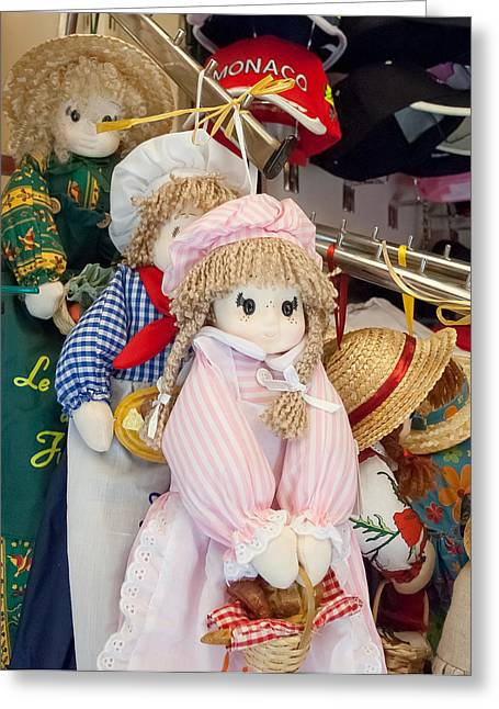 Plaid Dress Greeting Cards - delightful Dolls In A French Market Greeting Card by Michael Flood