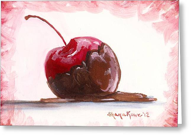 Delectable Greeting Cards - Delightfully Delectable 3 Cherry Greeting Card by Shana Rowe